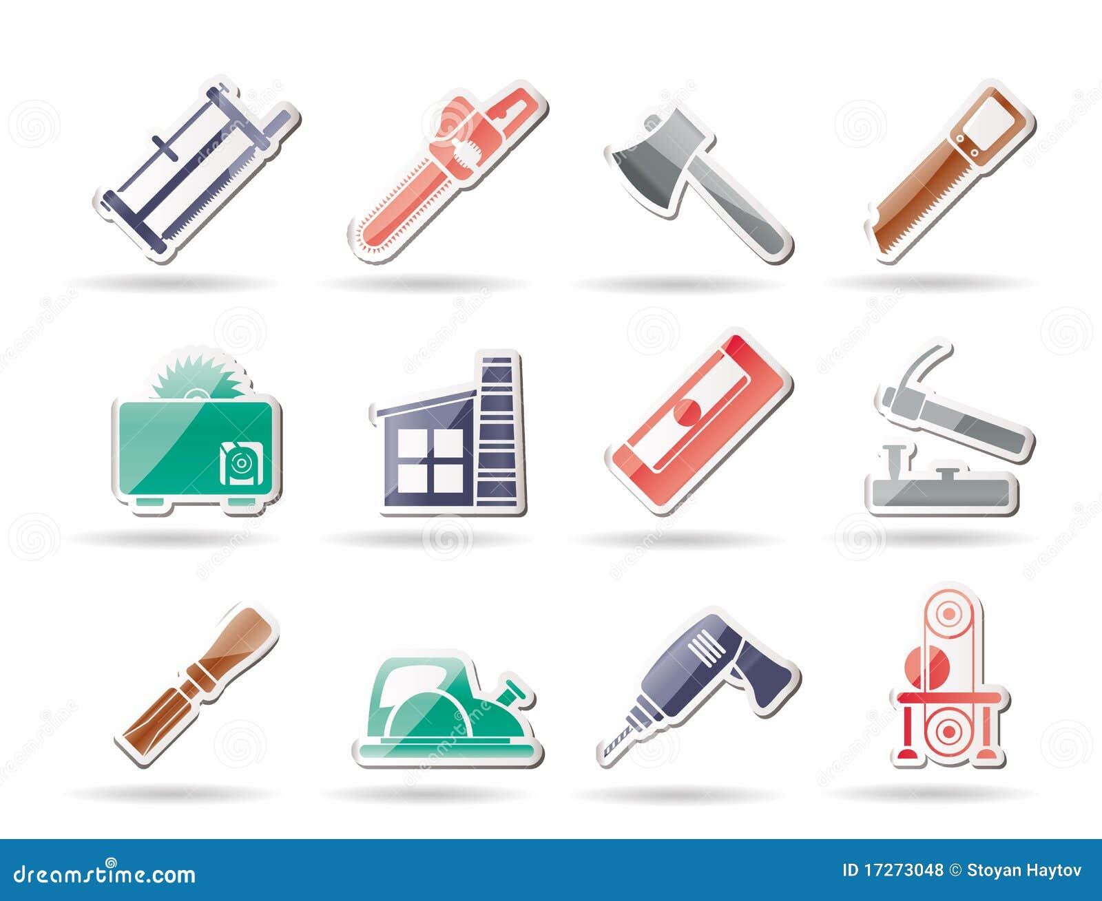 Industria de la carpinter a e iconos de las herramientas - Materiales de carpinteria ...