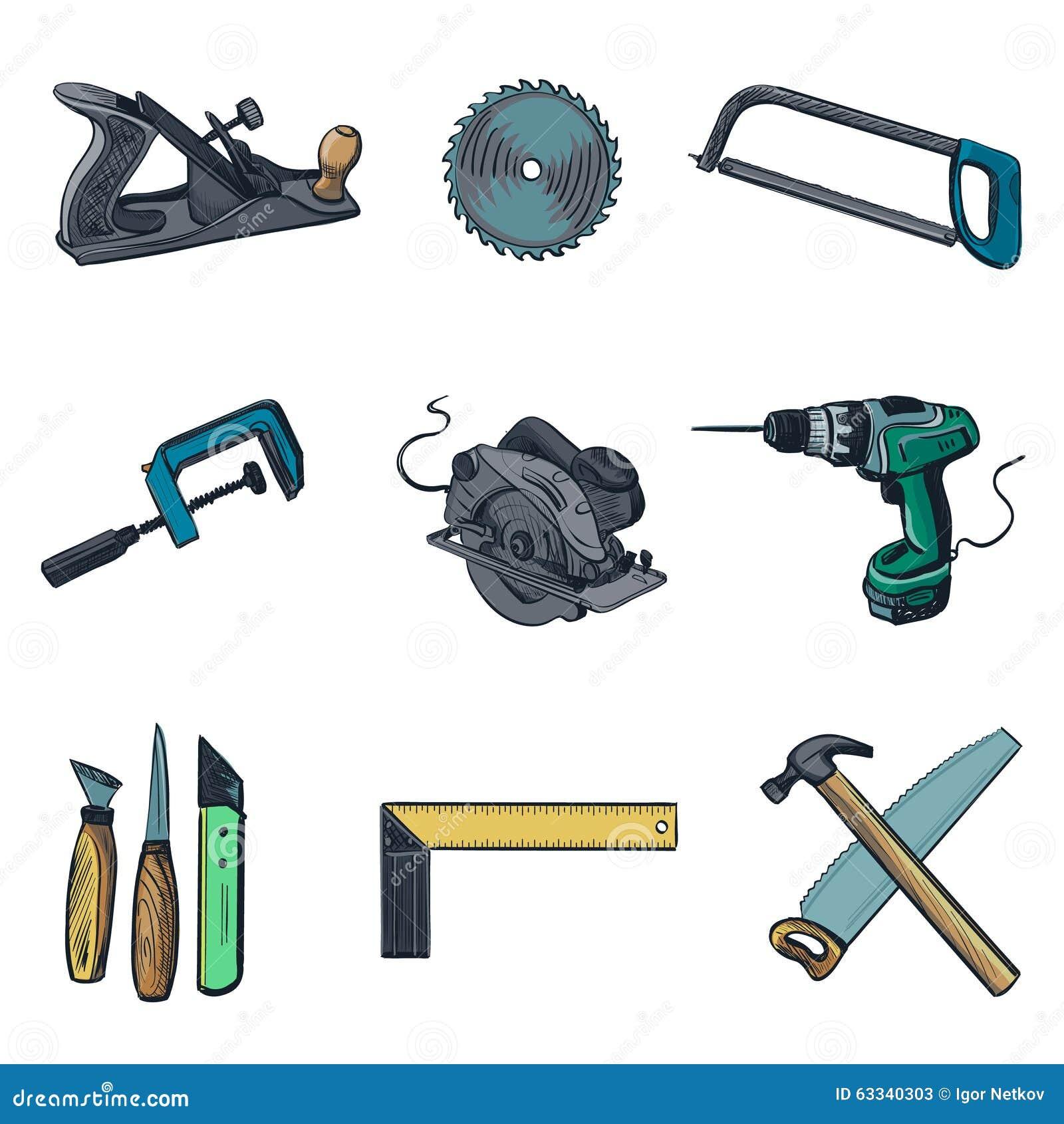 Industria de la carpinter a y los iconos de las - Herramientas de carpinteria nombres ...