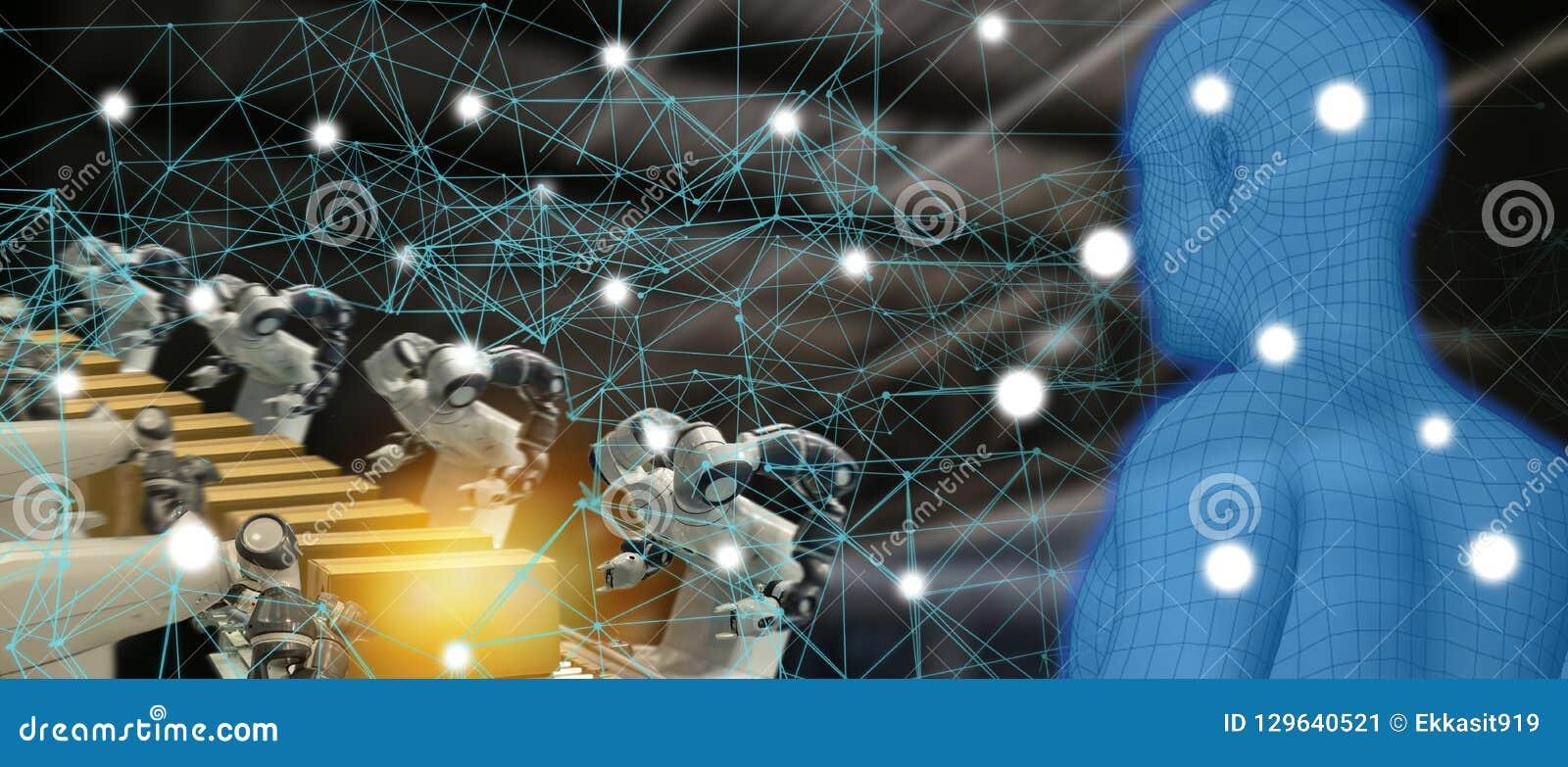 Industria 4 de la tendencia de Iot 0 conceptos, ingeniero industrial usando la inteligencia artificial ai aumentada, realidad vir