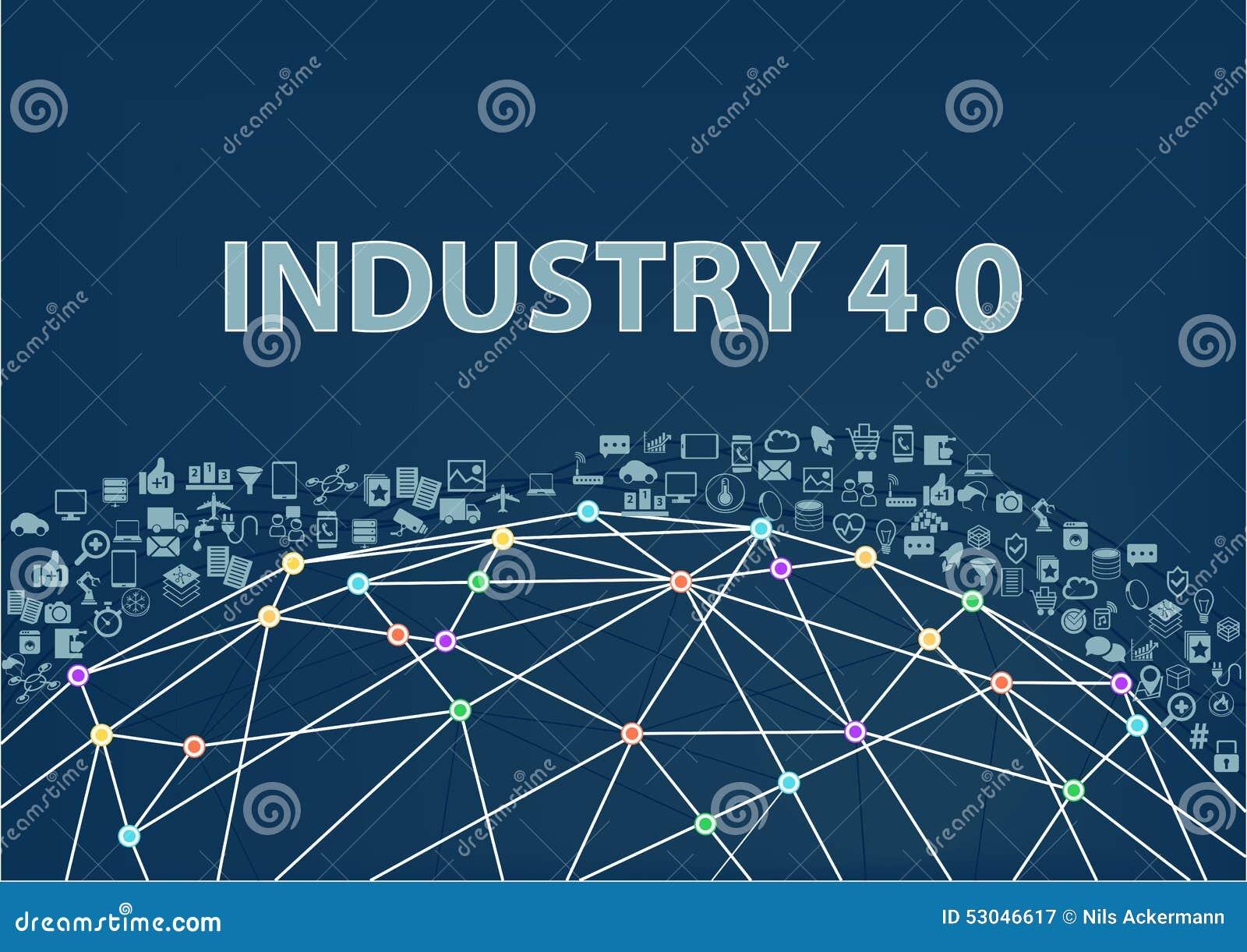 Industria 4 0 fondi dell illustrazione Internet del concetto di cose visualizzato dal wireframe del globo