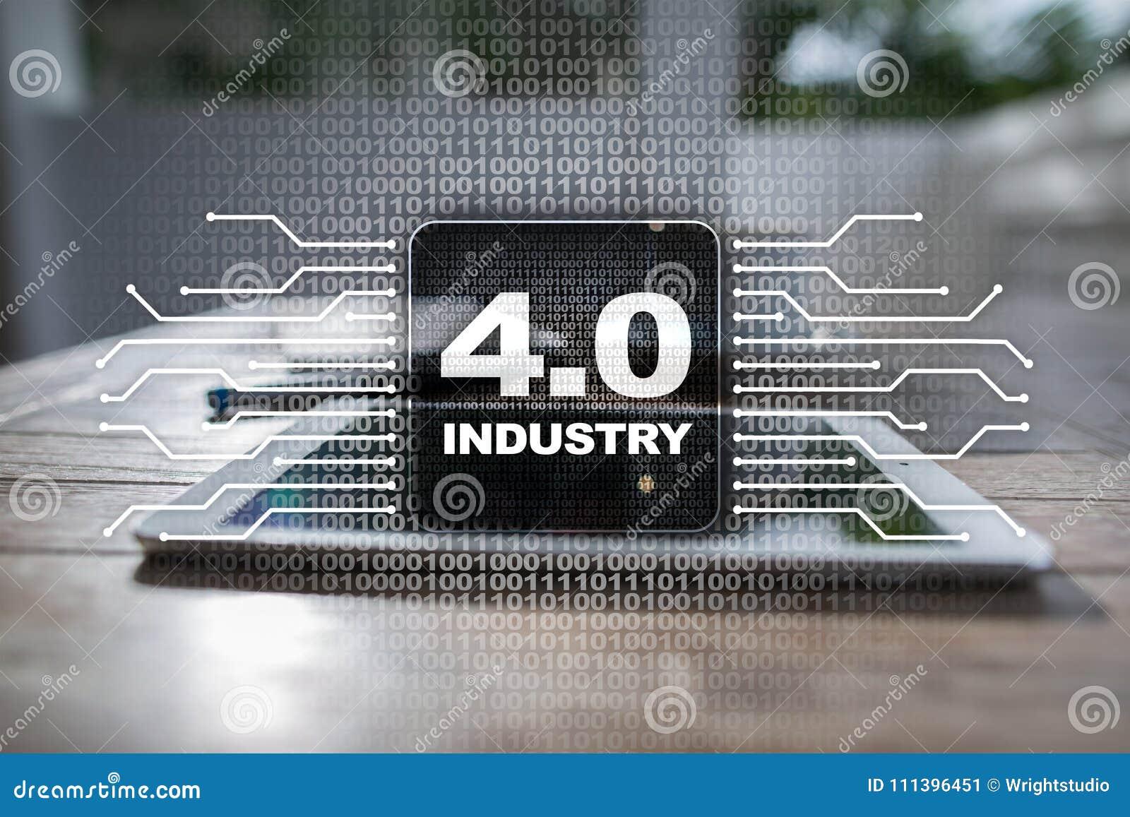 Industria 4 IOT Internet delle cose Concetto astuto di fabbricazione 4 industriali 0 infrastrutture trattate Fondo