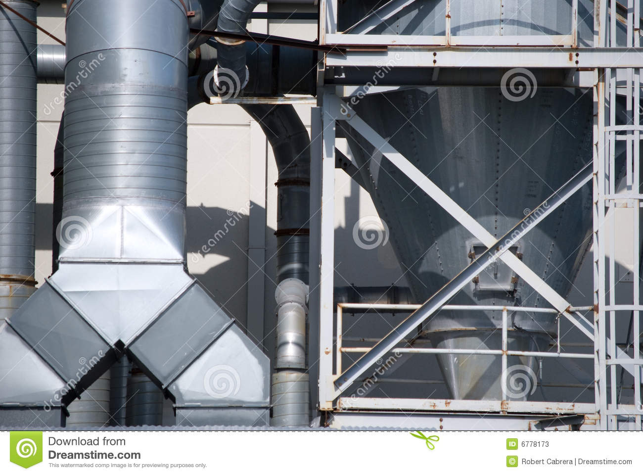 Industrial air conditioner duct work stock image