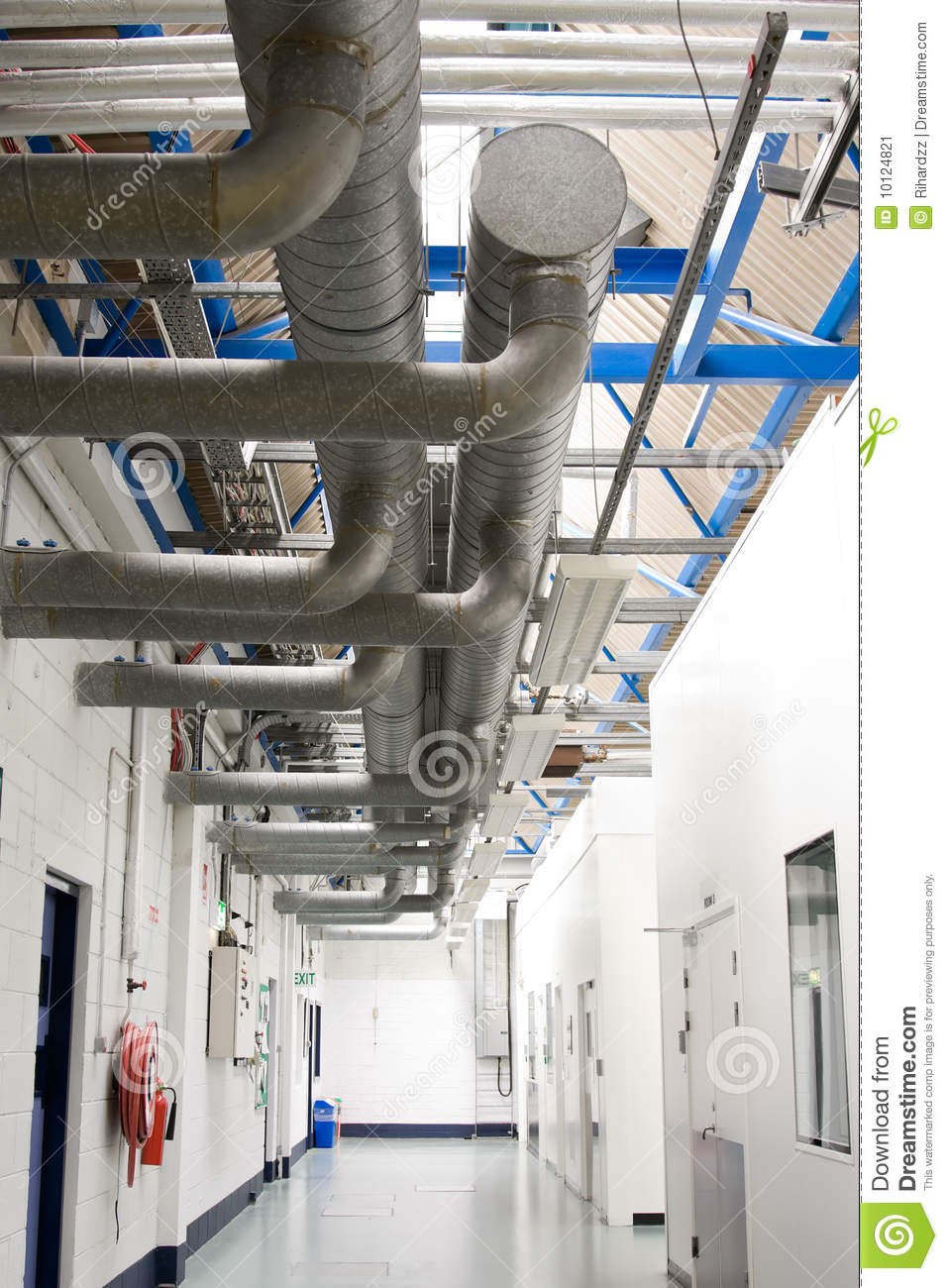 Industrial Air Pipes : Industrial air conditioner pipes sistem stock image