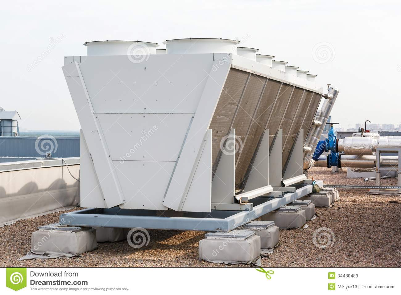 Industrial Air Conditioner On The Roof Royalty Free Stock Images  #82A229