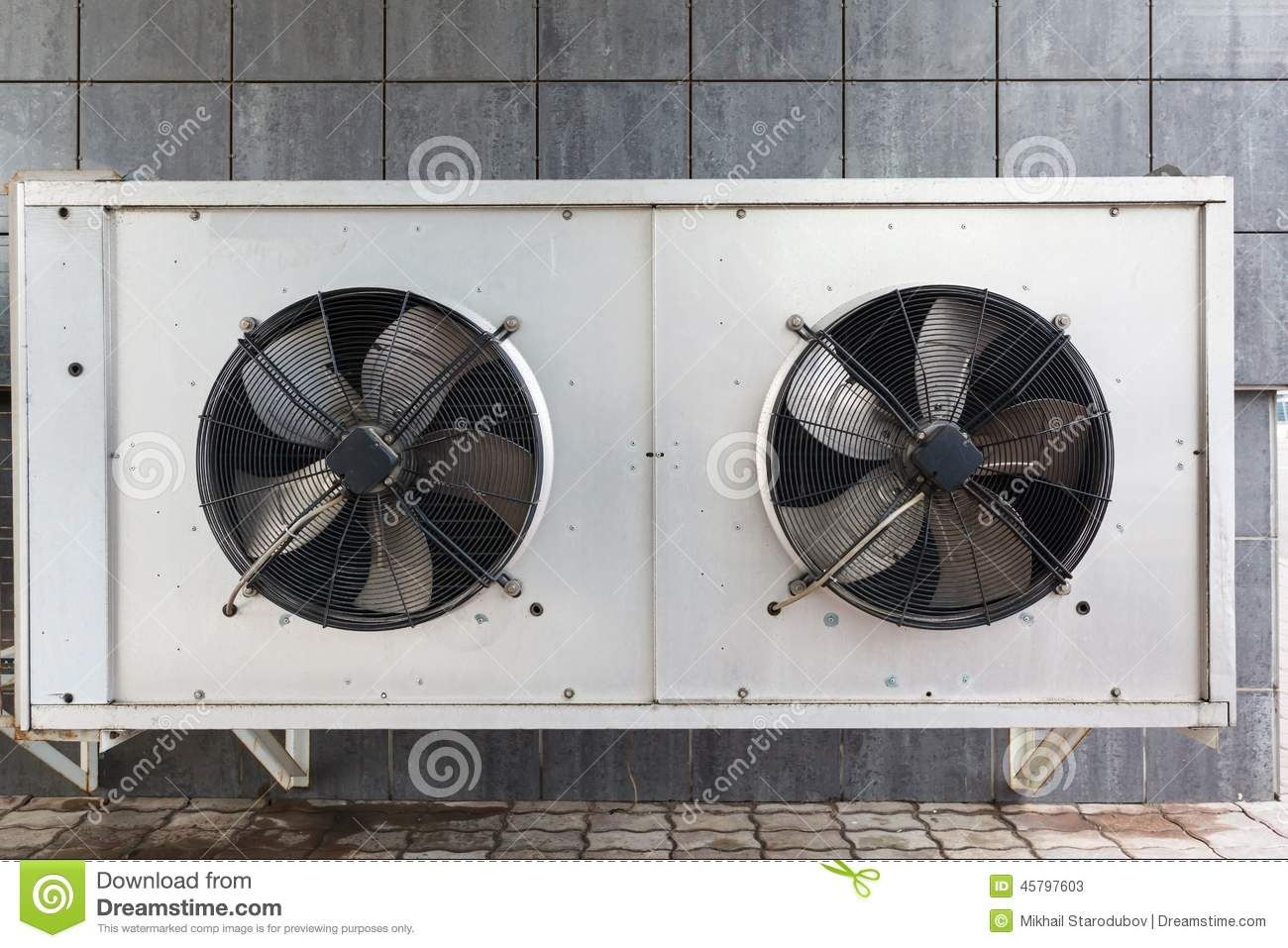 Ac Unit Fan : Industrial air conditioner on the roof stock photo image
