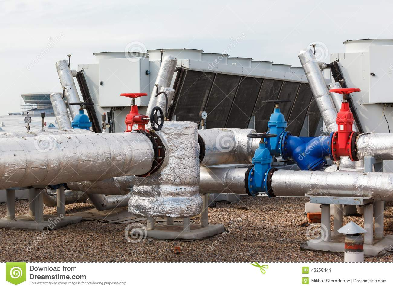 Industrial Air Pipes : Industrial air conditioner on the roof stock photo image