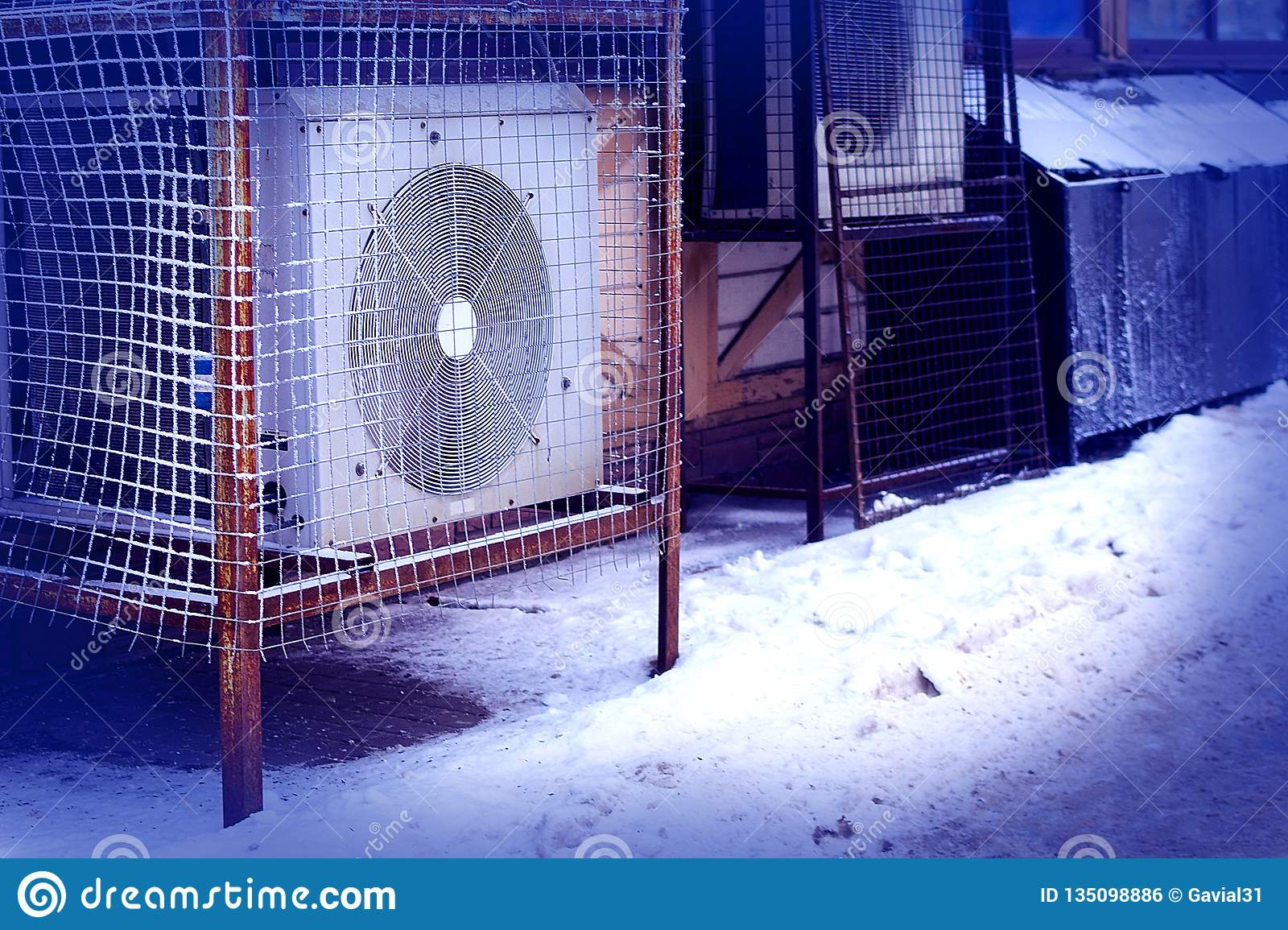 Industrial air conditioner stands outside