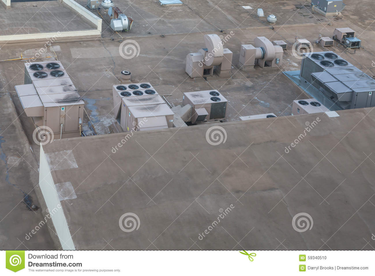 Industrial Air Conditioner Units On A Rooftop Stock Photo