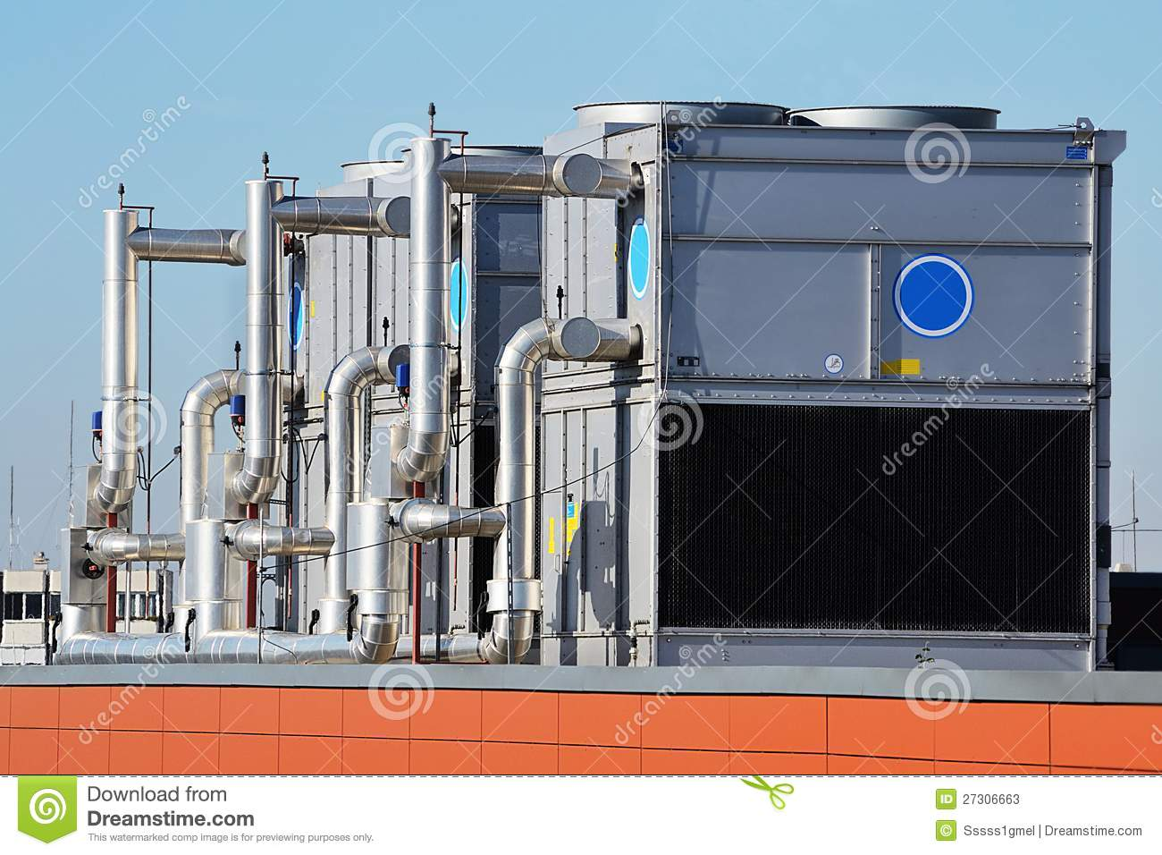 industrial air conditioning unit cooling system on the roof of a #AF421C