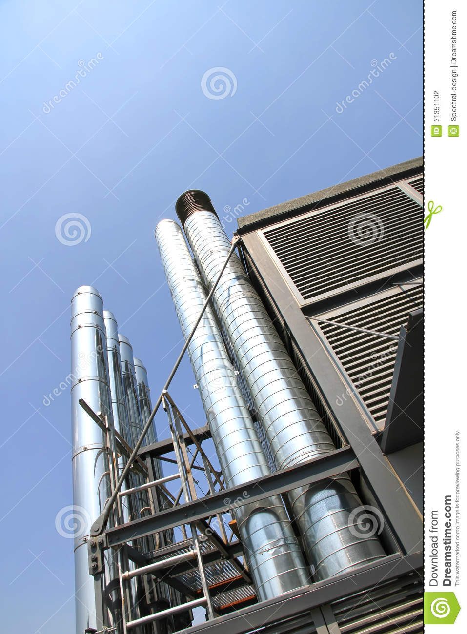 Industrial Air Pipes : Industrial air conditioning stock photography image