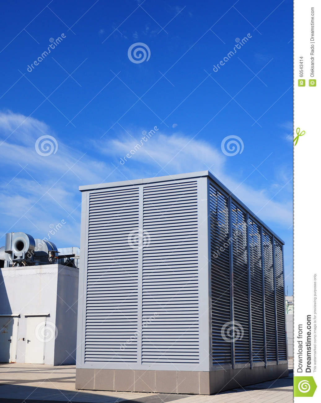 Stock Photo: Industrial air conditioning and ventilation systems on  #154CB6