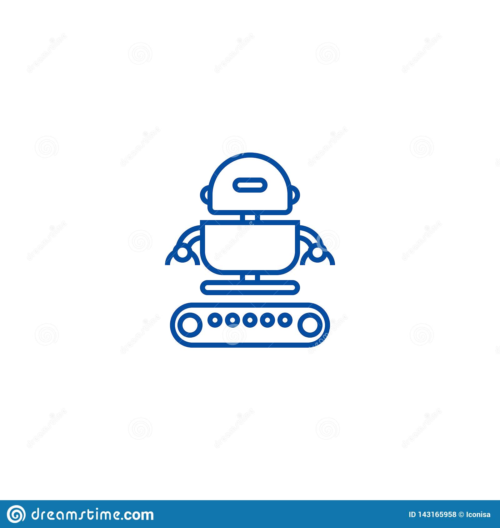 Industrial army robot  line icon concept. Industrial army robot  flat  vector symbol, sign, outline illustration.