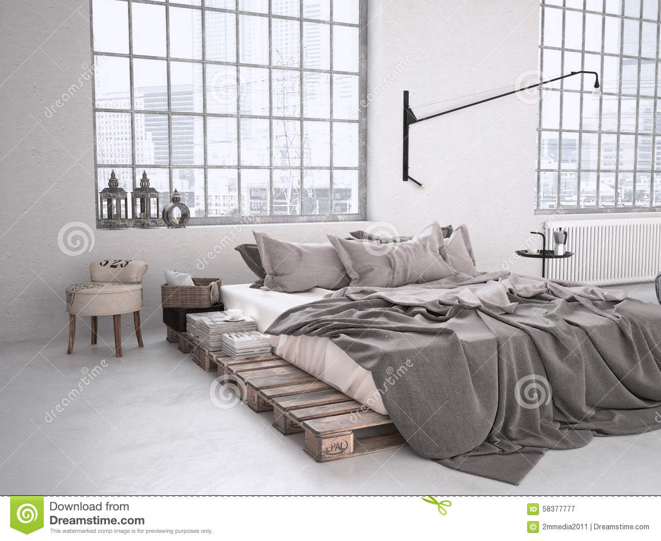 industrial bedroom. 3d rendering stock photo - image: 58377777