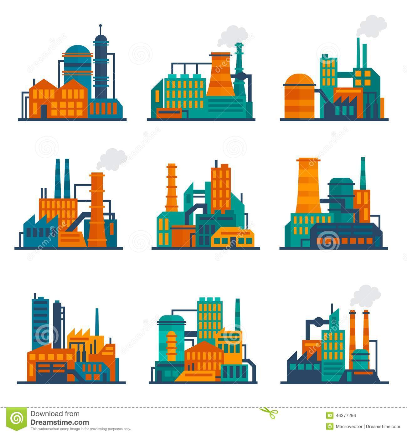 Industrial city construction building factories and plants flat icons ...