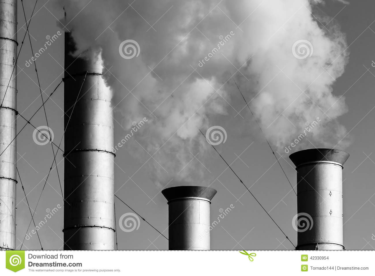 industrial chimneys and clouds of white smoke or vapor stock photo image of blue dioxide. Black Bedroom Furniture Sets. Home Design Ideas