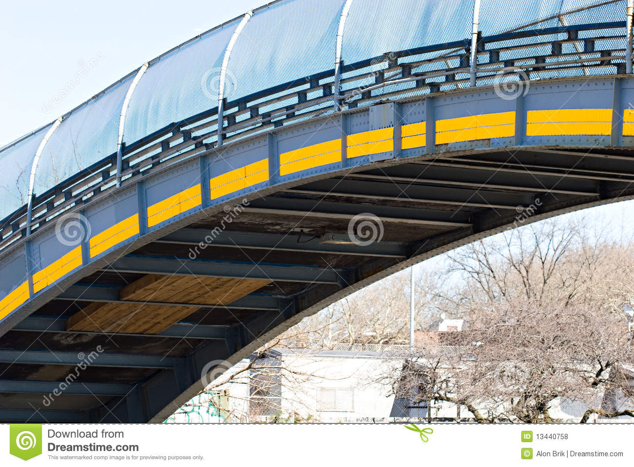Industrial City Bridge Over The Highway Path Stock Photo ...