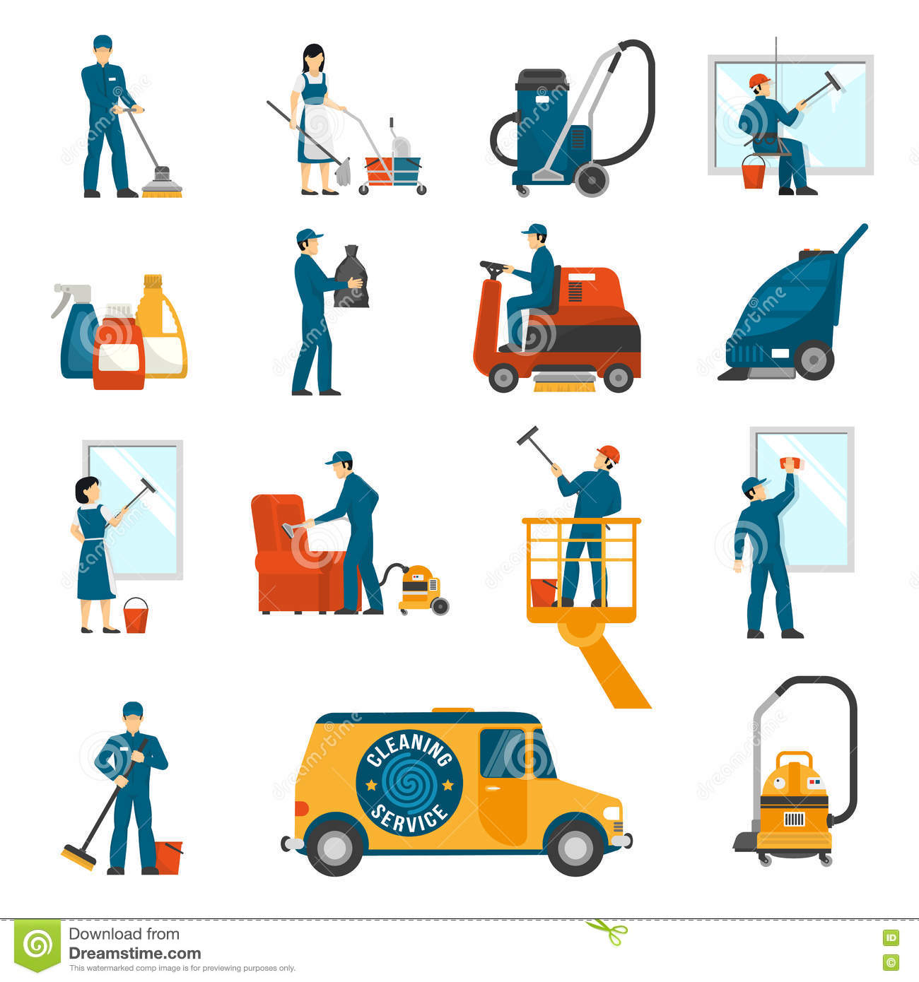icons set for advertisement company stock vector image 50057962 industrial cleaning service flat icons set stock photos