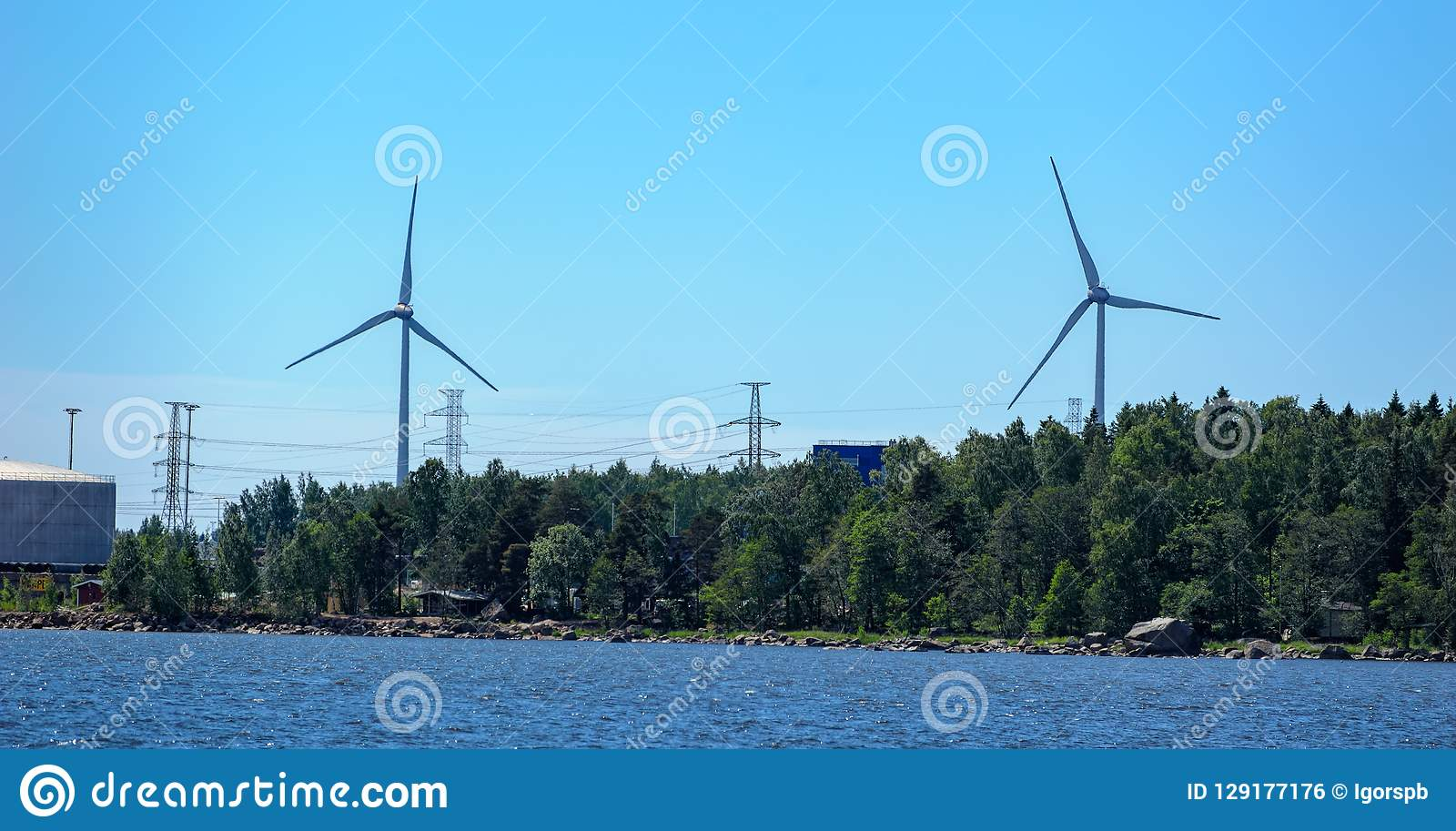 Industrial Coastal Landscape In Kotka, Finland  Stock Photo