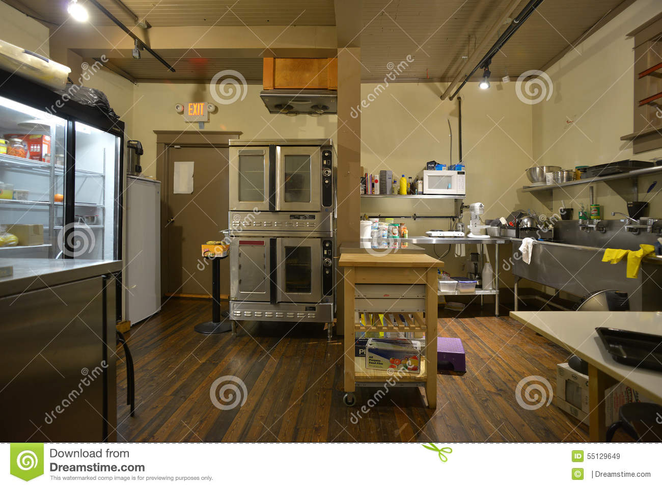 Industrial coffee shop bakery and kitchen editorial stock for Coffee shop kitchen designs