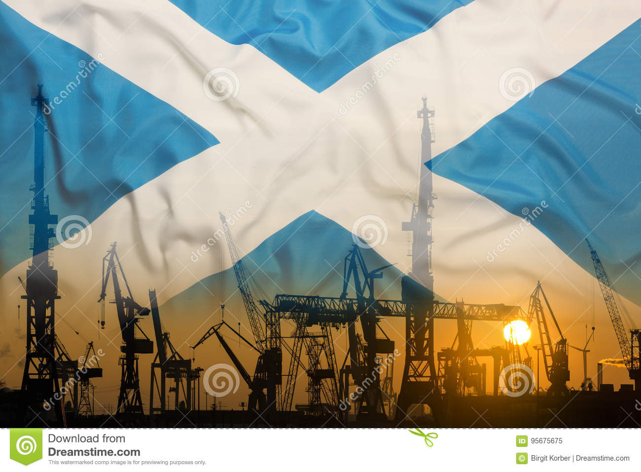 Industrial concept with Scotland flag at sunset