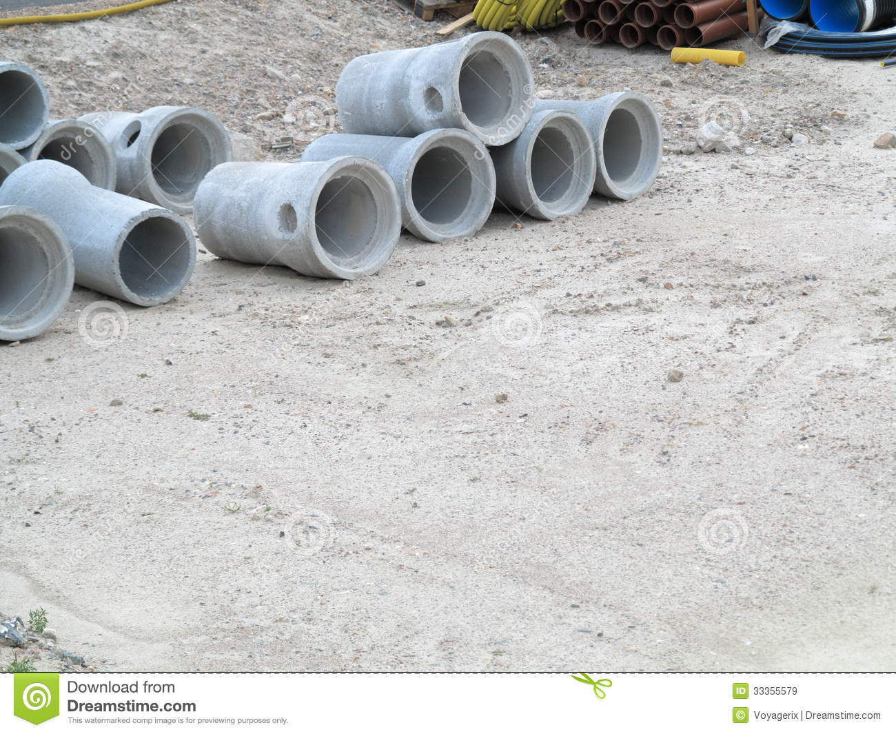 Industrial concrete pipe for building construction royalty free stock