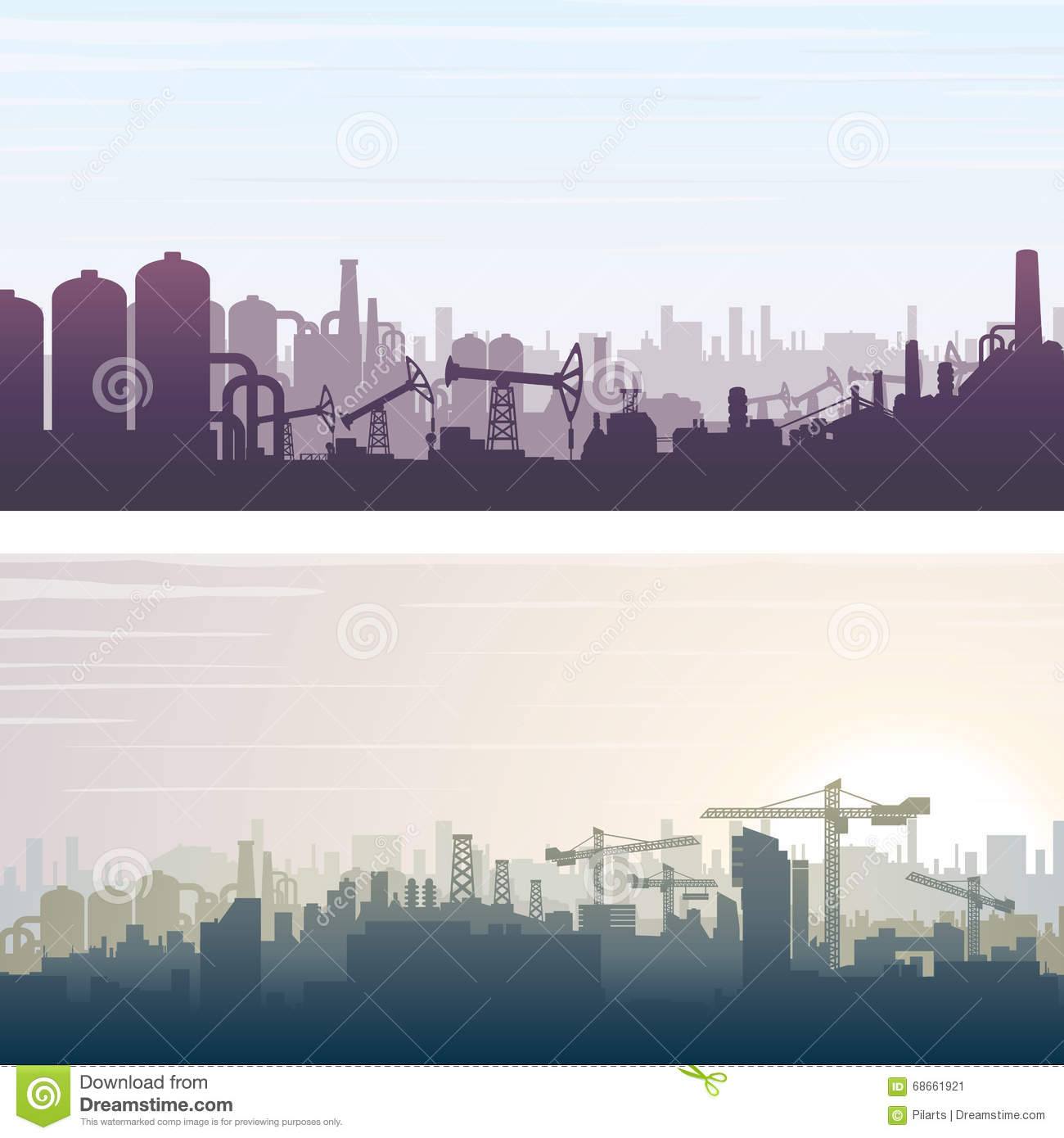 Industrial And Construction Banner Background Stock Vector