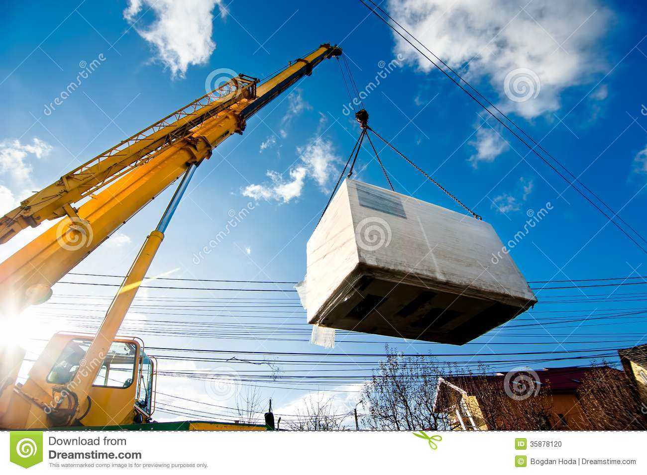 Industrial Crane Operating And Lifting An Electric