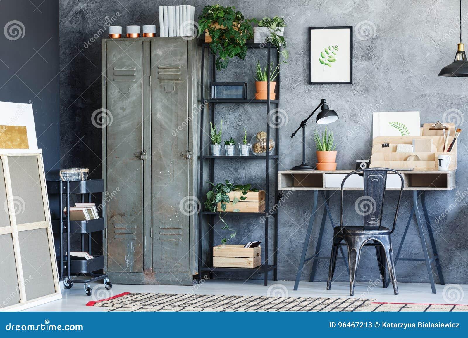 Industrial Creative Study Room Stock Image Image of desk estate