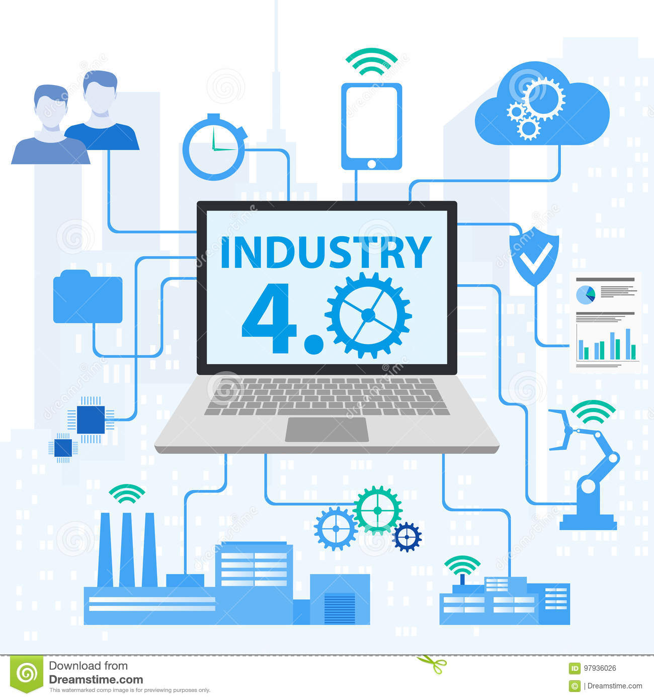Industrial 4. 0 Cyber Physical Systems concept , Infographic Icons of industry 4. 0