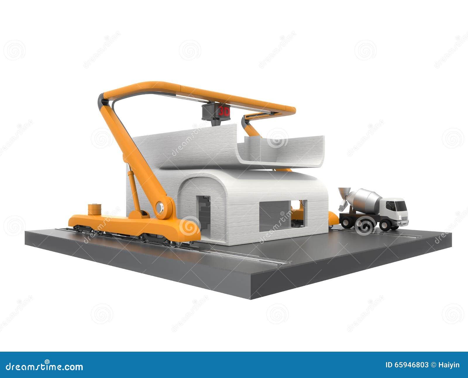 industrial 3d printer printing house model stock illustration image 65946803. Black Bedroom Furniture Sets. Home Design Ideas
