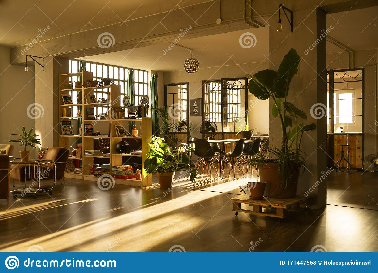 Industrial Design Loft With Large Windows And Coworking Office Area Dawn Light Interior Design Living Room At Home Stock Photo Image Of Design Chair 171447568