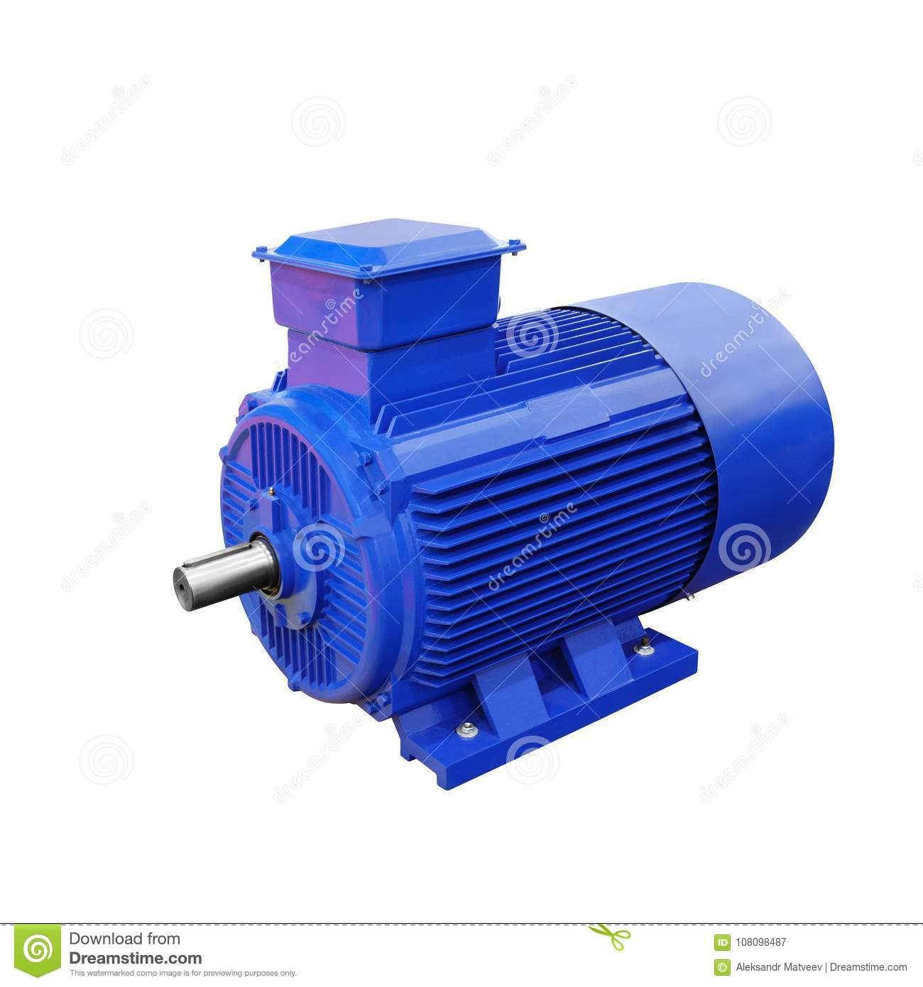 electric generator motor. Industrial Electric Motor Generator Isolated On White Background T