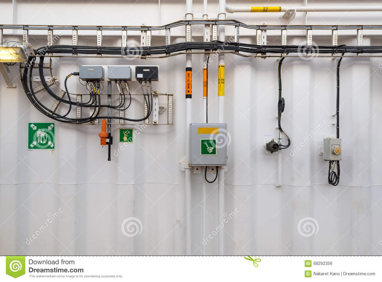 Industrial Electrical Junction Boxes With Air And Fuel Pipes On Home Wiring Box Download Stock Photo Image Of