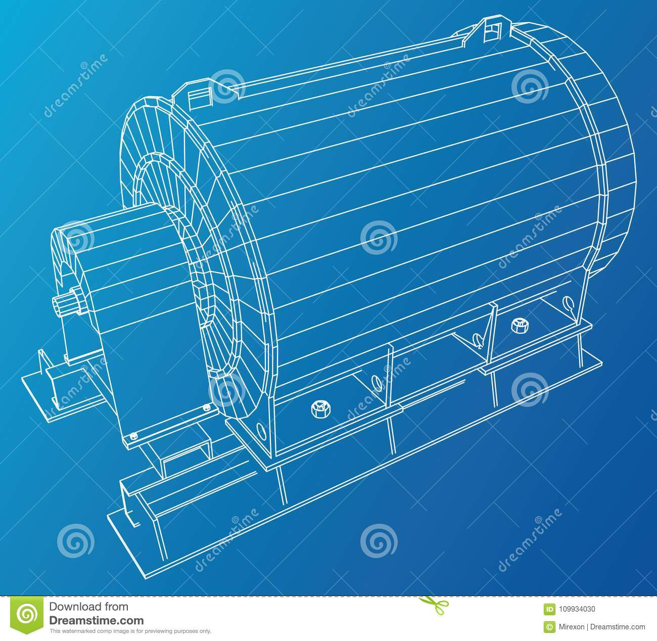 Industrial engine. Wire-frame. Vector EPS10 format. Vector rendering of 3d