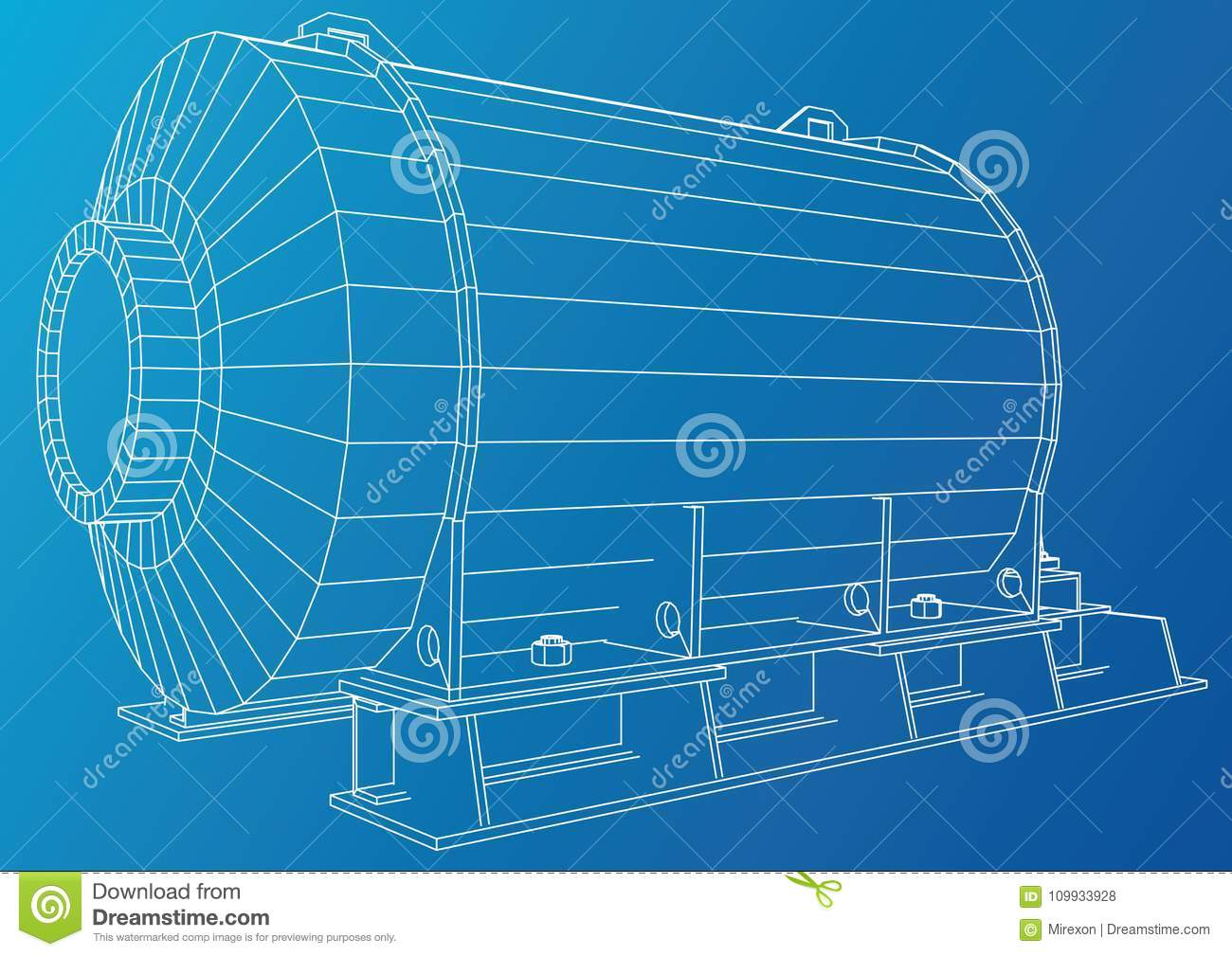 Download Industrial Engine. Wire-frame. Vector EPS10 Format. Vector  Rendering Of 3d