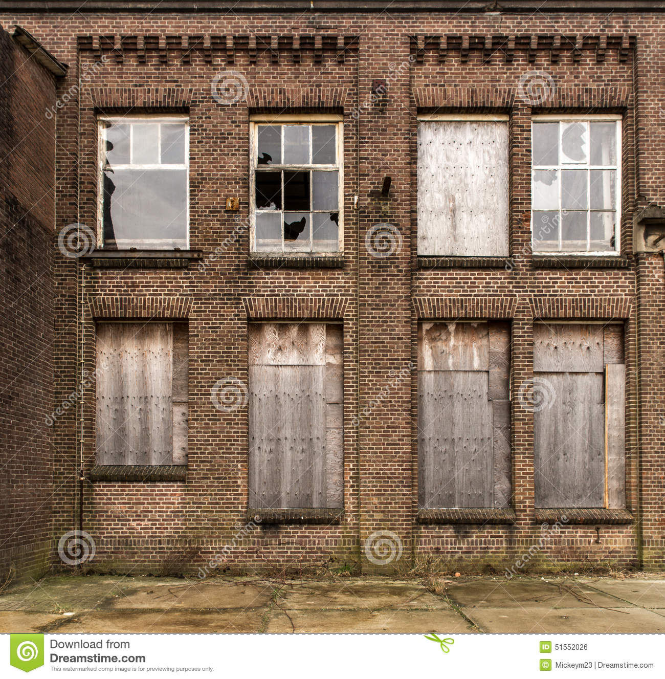 Industrial facade stock photo image of building boarding for Brick facade house