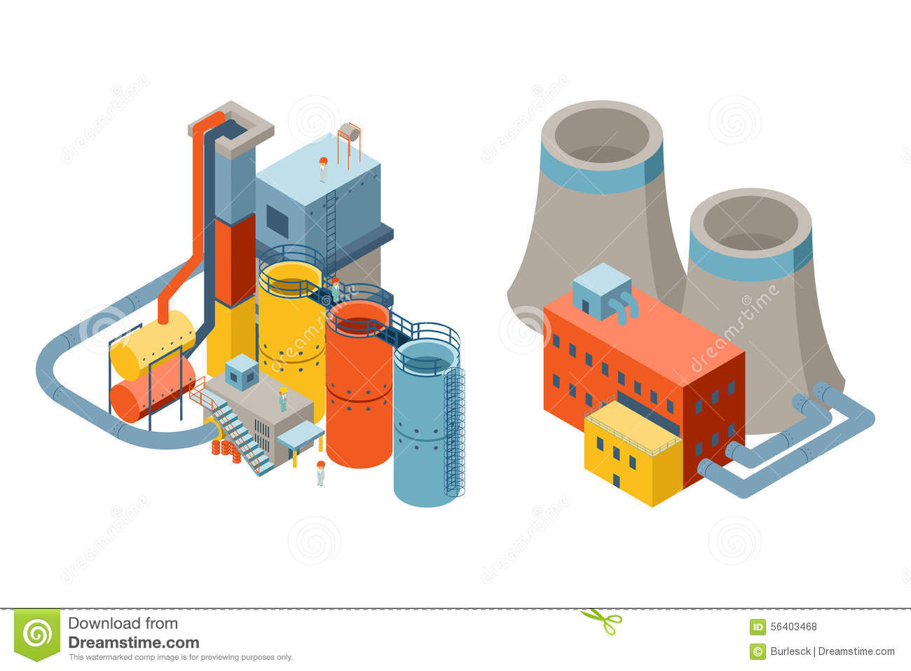 Industrial factory buildings 3d isometric flat stock for Production builder