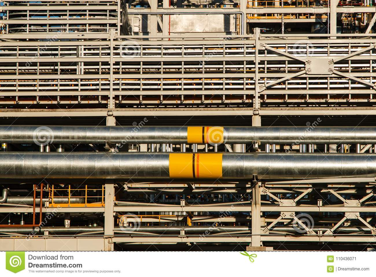 Pipelines of Refinery factory and insulation at industrial zone.