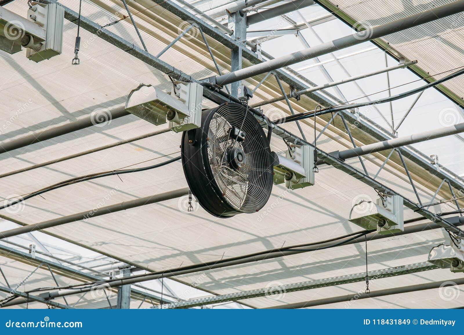 Industrial Fan Inside Modern Greenhouse, Electric Automation ...