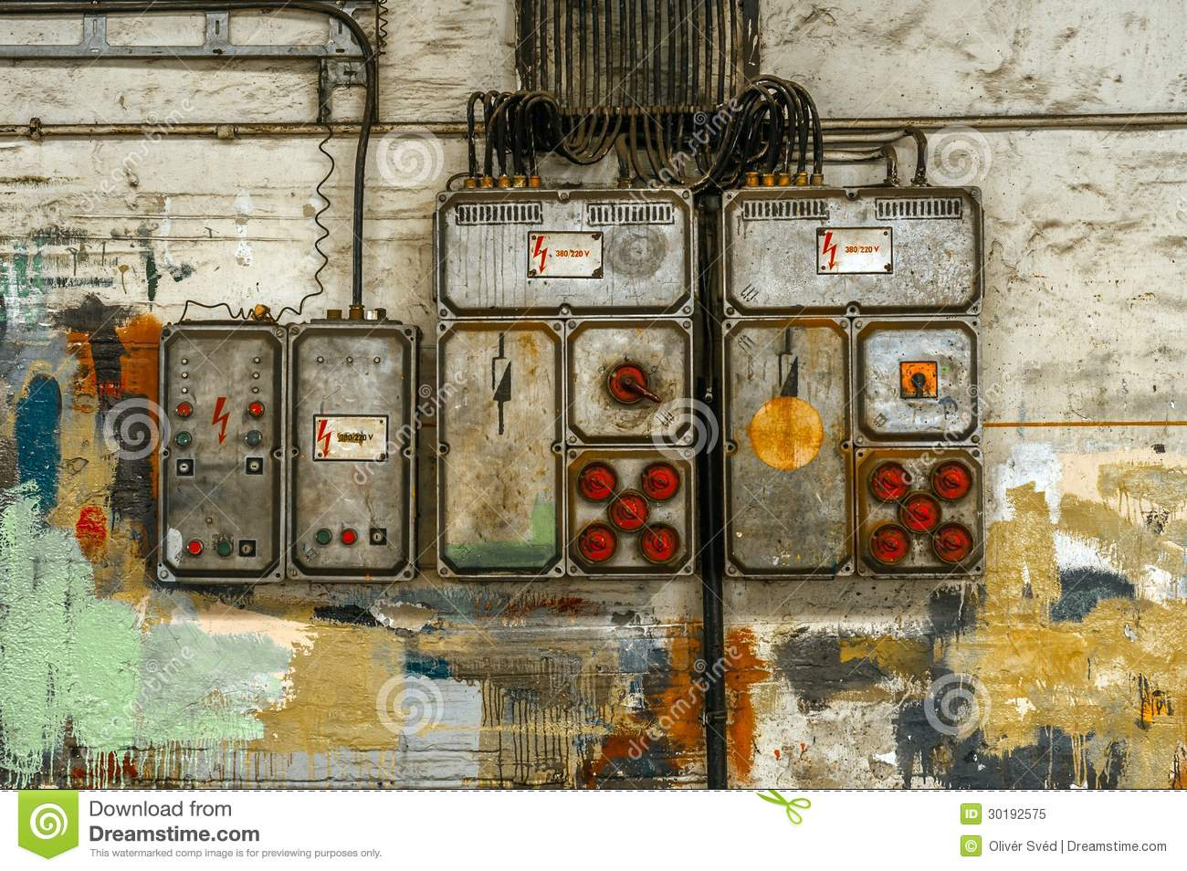 industrial fuse box on the wall royalty free stock photo. Black Bedroom Furniture Sets. Home Design Ideas