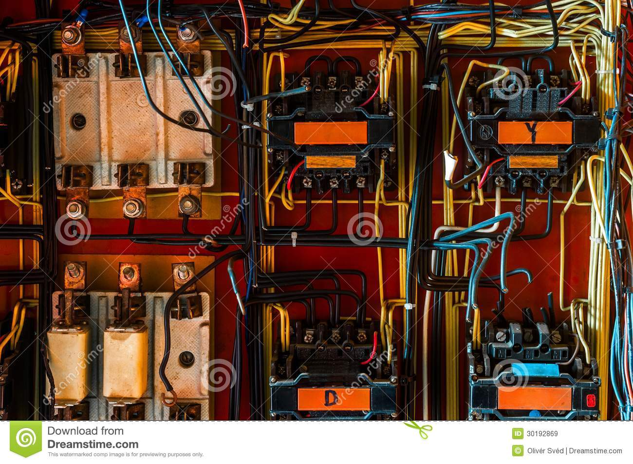 Industrial Fuse Box On The Wall Stock Image Of Cable Metal In Pipe Download