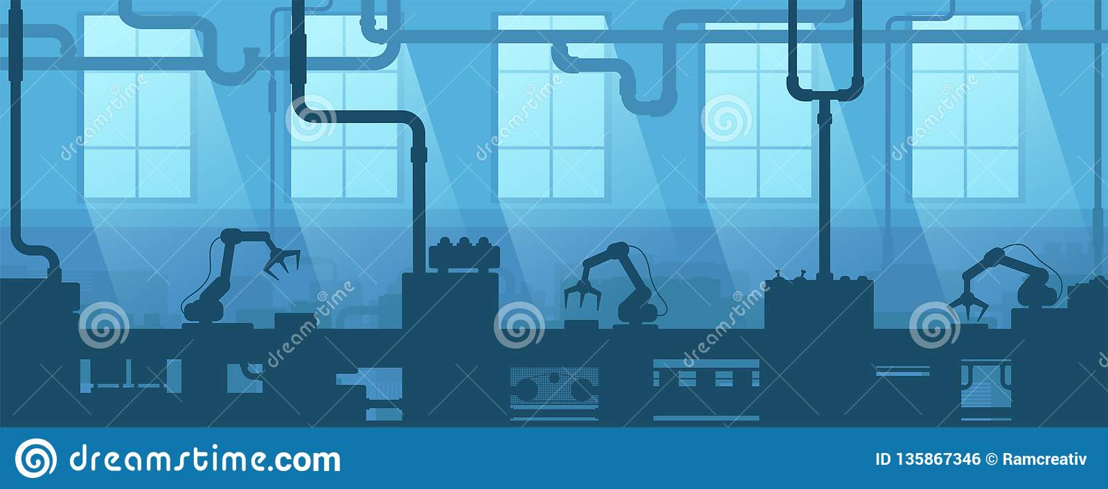 Industrial interior of factory, plant. Silhouette industry enterprise. Manufacturing 4.0