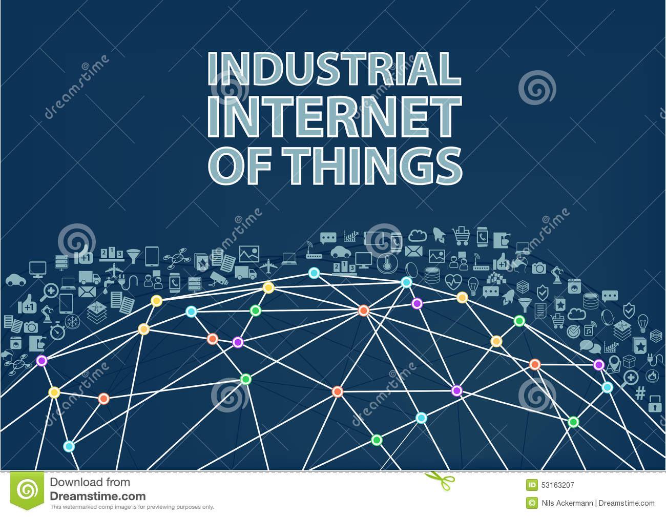 Industrial Internet Of Things Illustration Background. Stock ...
