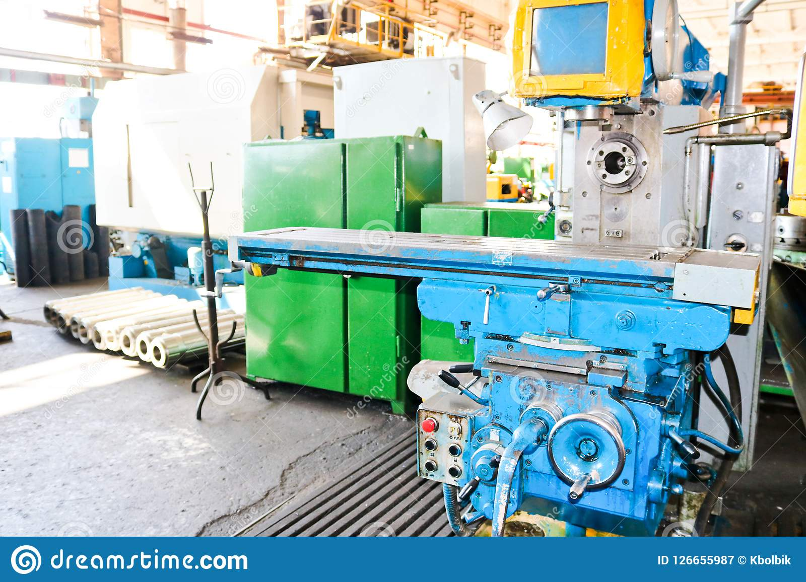 Industrial iron lathe for cutting, turning of billets from metals, wood and other materials, turning, manufacturing of details