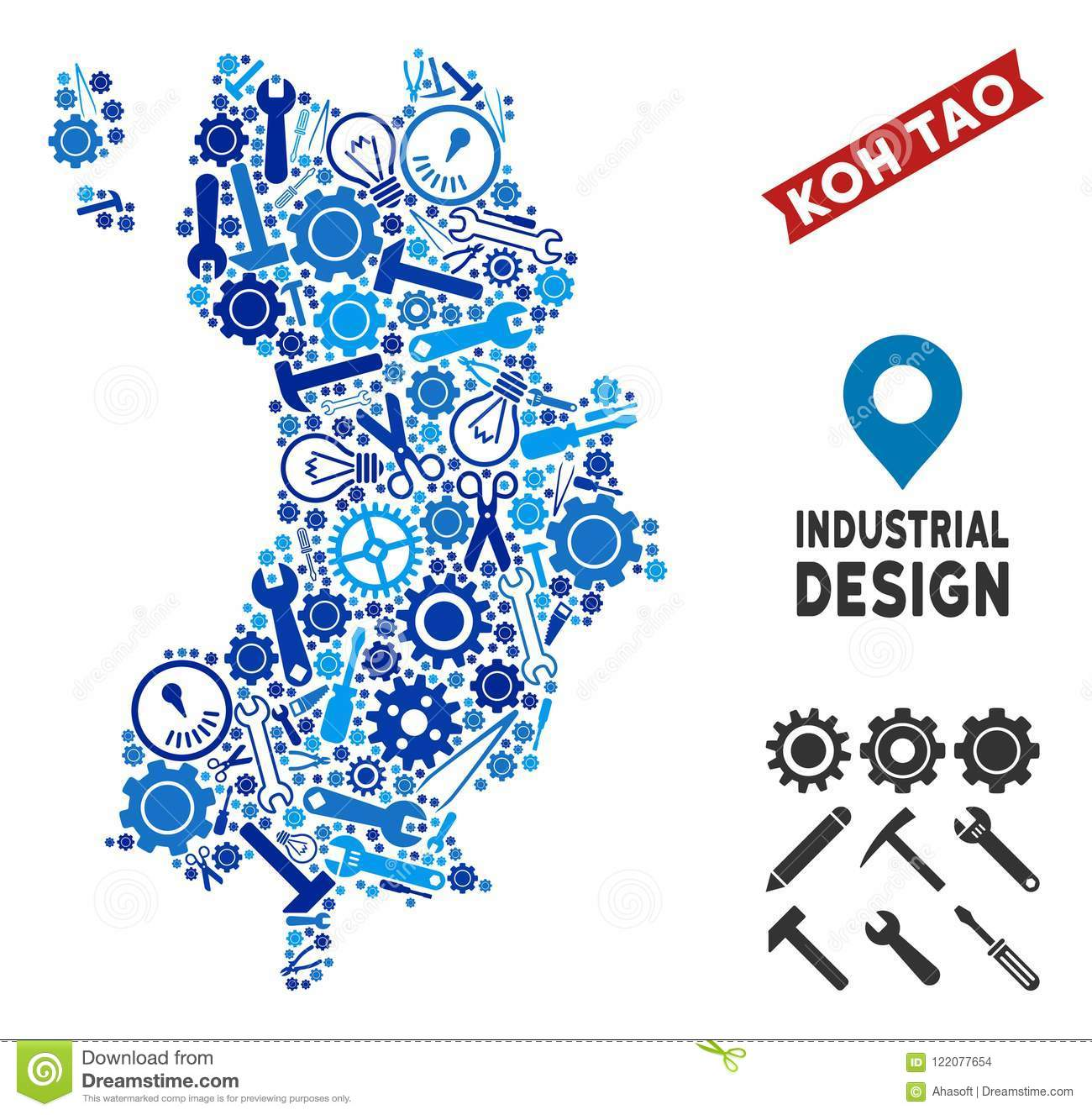 Industrial Koh Tao Thai Island Map Collage Stock Vector