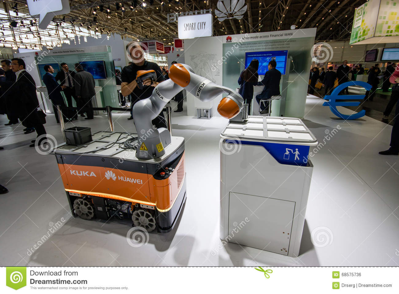 Exhibition Booth Vector Free Download : Industrial kuka robot in booth of huawei company at cebit