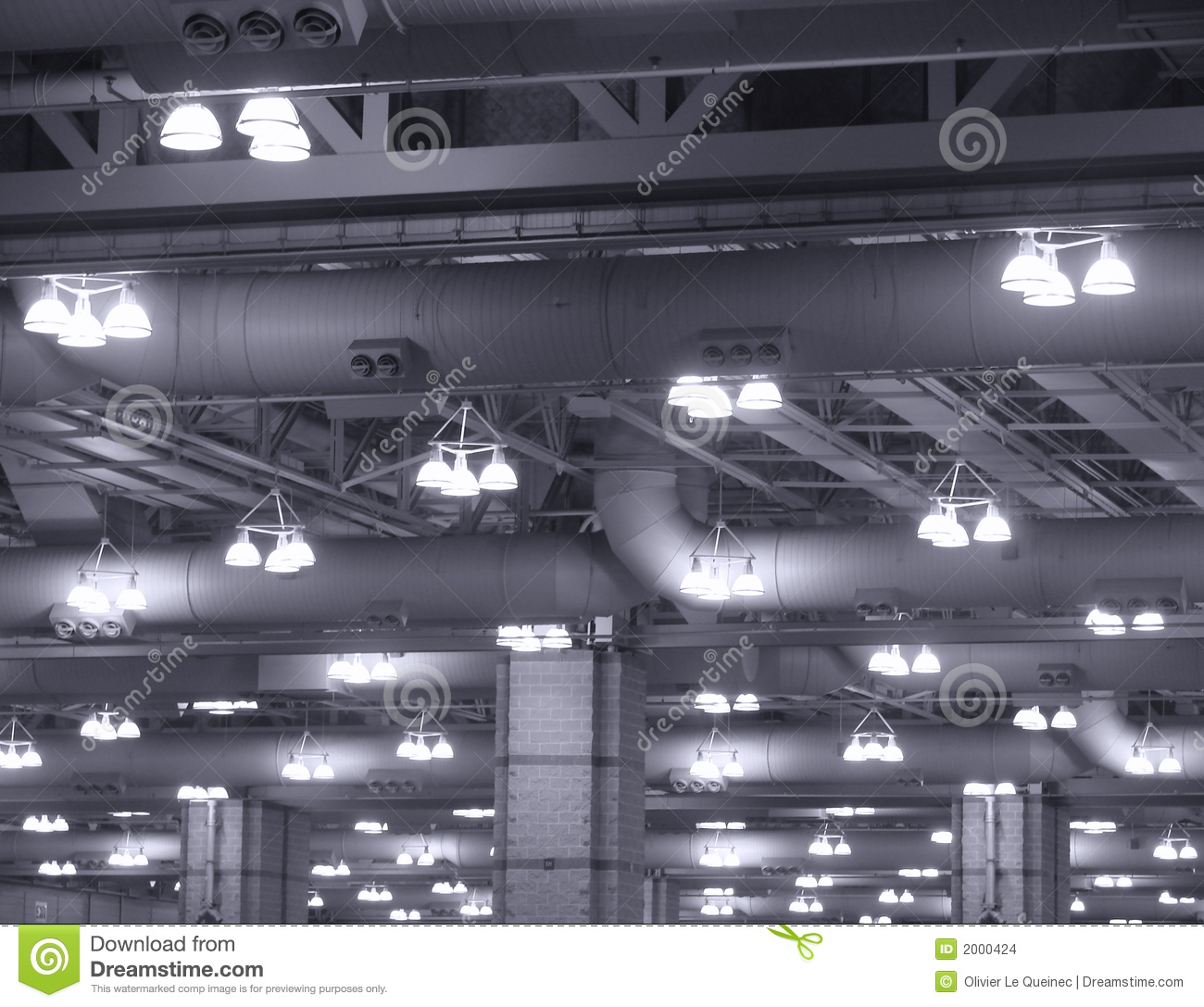 Industrial Lights On Commercial Building Ceiling Stock