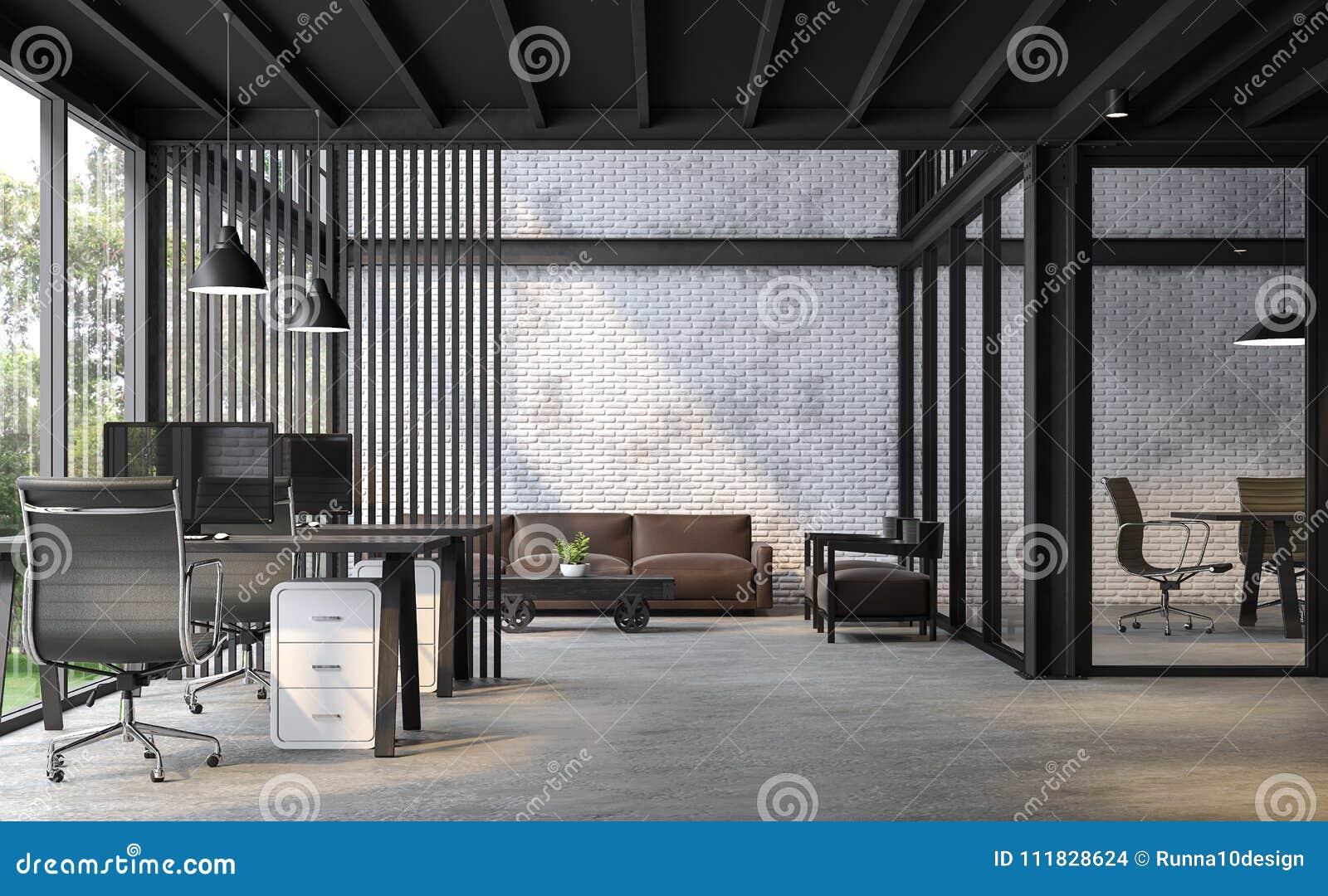 Industrial Loft Style Office 3d Render Stock Illustration