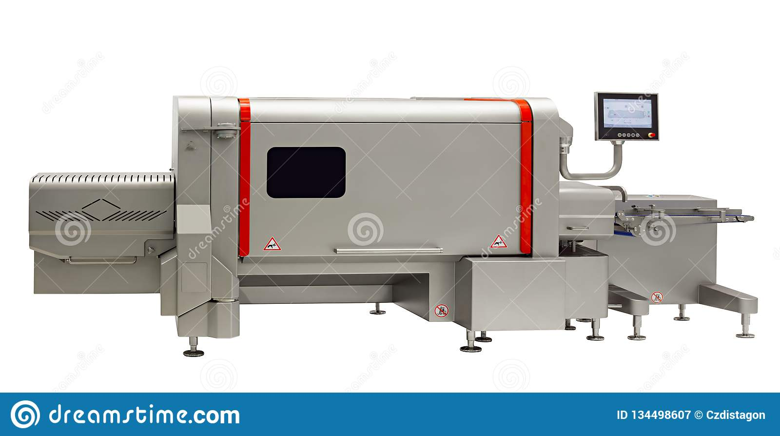 Industrial machine of food industry, production line in food factory line conveyor machine isolated on white background