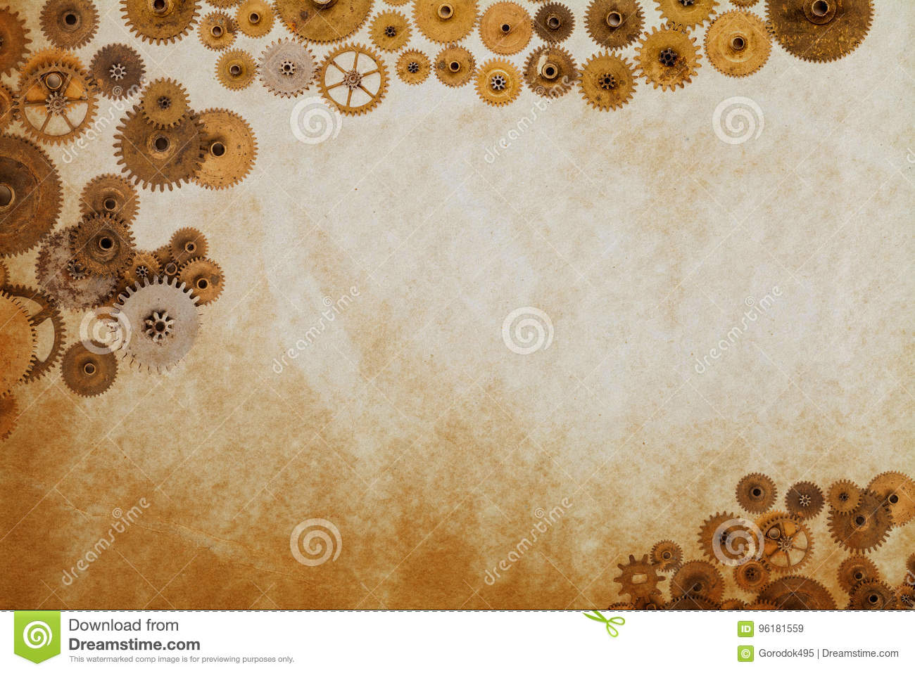 industrial machinery template cogs gears on aged textured paper